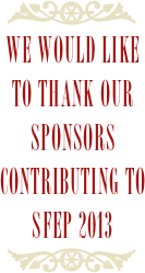 We would like to thank our sponsors contributing to sfep 2013